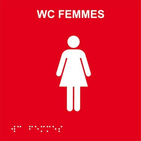 Plaque de porte Braille WC Femme