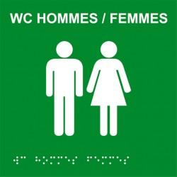 Plaque de porte Braille WC HOMME FEMME
